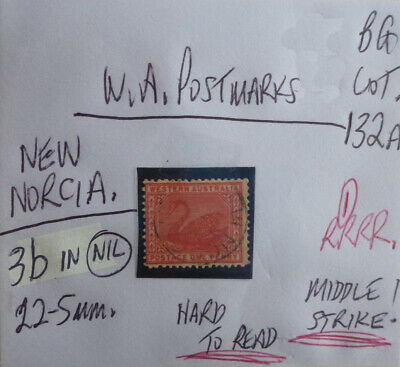 OLD WEST AUSTRALIA POSTMARK ON SWAN STAMP NEW NORCIA ON 1d