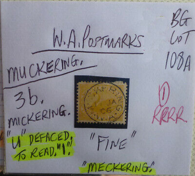 Old West Australia Postmark On Swan Stamp Muckering 1906