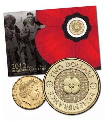 💰 2012 Australia $2 Remembrance Day coin gold poppy RAM minted UNC