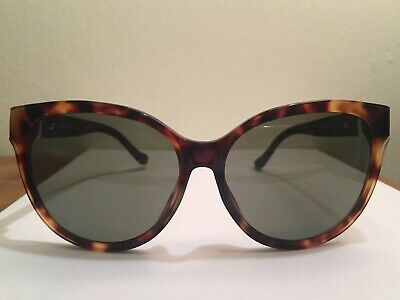 65ce09ee9b7a Linda Farrow X The Row Oversized Cat Eye Brown Tortoise Shell Leather  Sunglasses