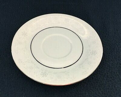 Sea Gull Fine China Saucer - White On White Floral With Silver Colored Rim