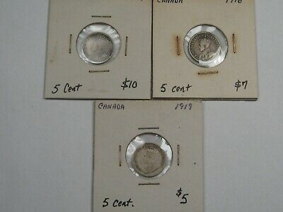 3 Canadian Silver 5 Cent Coins: 1912, 1916 & 1919. CANADA.  #17