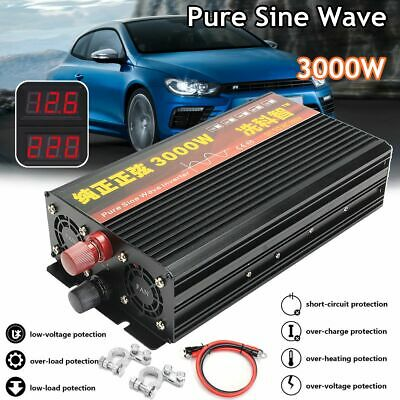 Pure Sine Wave Power Inverter 3000W(PEAK6000W) DC 12V to AC 220V w/ LED Display