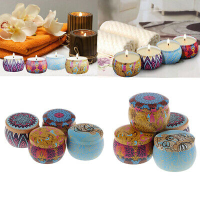 8 Sets National Style Scented Candle Natural Soy Wax Portable Tins Candles