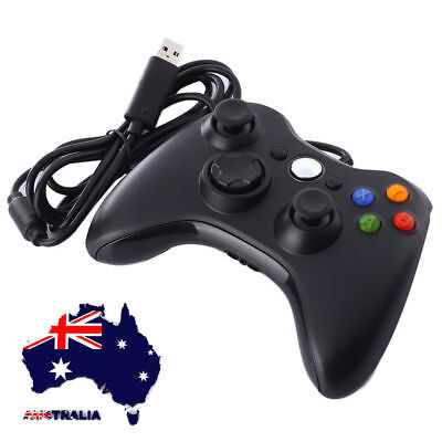 AU Xbox 360 Black USB Wired Game Controller for Windows Console Gamepad PC