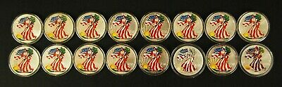 1986-2001 Colorized American Silver Eagle Dollar LOT of 16 Sequential Coins UNC