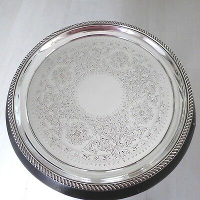 Large Vintage Chased Silver Plate Tray Salver Waiter Ball Scroll Feet  Benetfink