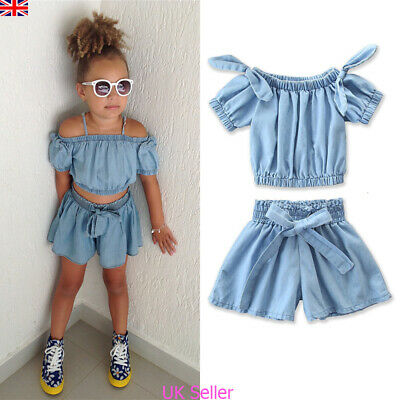 Toddler Kids Baby Girls Denim Crop Tops+Shorts Pants Outfits Set Summer Clothes