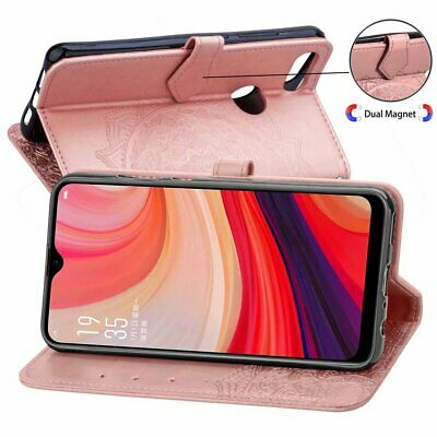 For OPPO AX7 Magnet Flip Cover 3D Mandala Flower Leather Wallet Case View Stand