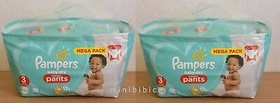 184 Couches Culottes Pampers baby-dry Nappy Pants 2 x Mega Pack 92 Taille 3