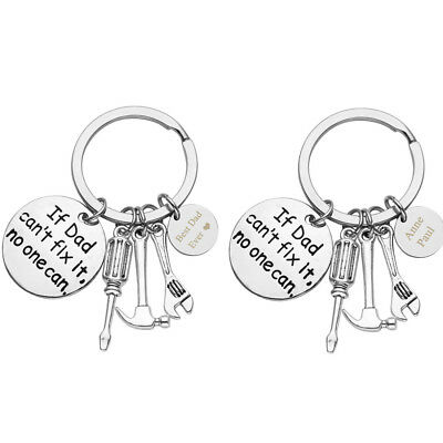 Text Engraved Keychain If Dad can't fix it no one can Keyring Custom Father Gift