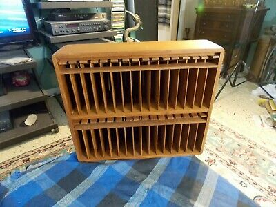 Vintage EA LTD Dovetailed Teak Wood 32 Cassette Tape Storage Wall Rack Holder VG