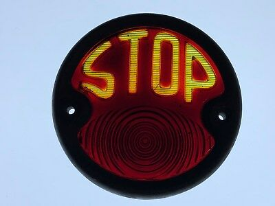 """Vintage Early Tail 2-TONE STOP Light GLASS Lens OLD Truck CAR 1920's 1930's 5"""""""
