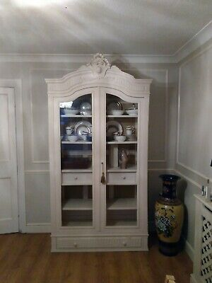 Antique French Painted Armoire Display Cabinet