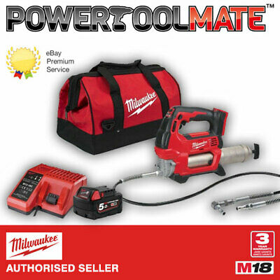 Milwaukee M18GG-501B 18v Cordless Grease Gun, 5Ah Battery, Charger & Bag