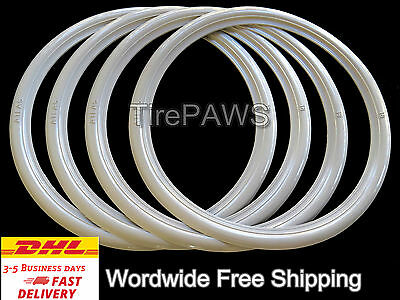 """15"""" Motorcycle Wide White Walls Port-a-wall Sidewall Tire insert trim set of 4,"""
