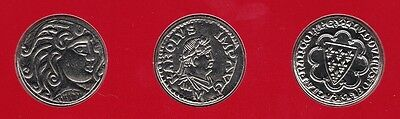 """9 * 5 FRANCS 2000 SET """"2000 years of coins in France"""" UNC in blisters RAR!!"""