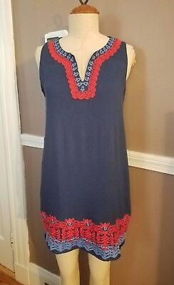 eaf2412b27dd Stunning Navy Blue Anthropologie Dress W/Embroidered Detailing By THML!!  Large!