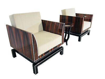 Pair of Design Armchairs in Art Deco Style - Macassar & Piano Lacquer
