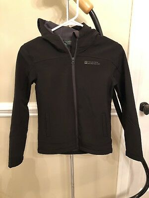EUC Mountain Warehouse Exodus Kids Black Softshell Fleece Lined Jacket SZ 9-10