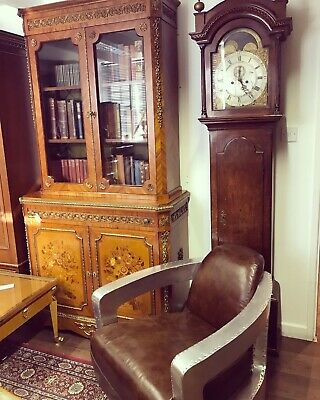 Grandfather Clock. 8 Day. Circa 1780. Brass Arch-dial With Moonphase. Oak Case.