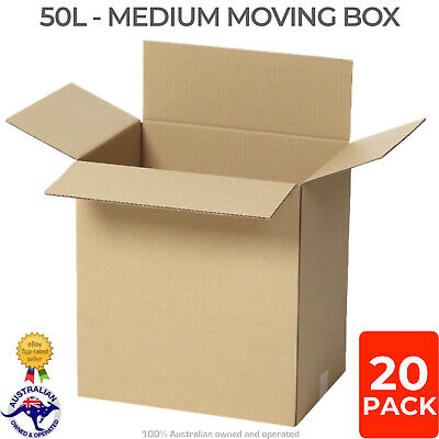 25x 50L Medium Moving Boxes 40x30x43cm Removalist Cardboard Shipping Packing Box