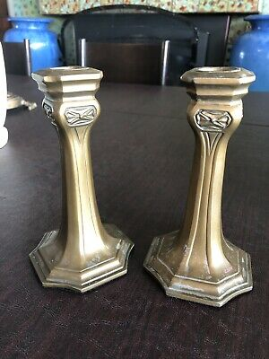 "6"" Pair Arts & Crafts Patinatrd Metal Candlesticks Roycroft"