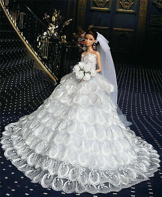 Royalty White Fashion Royalty Dress/Wedding Clothes/Gown+Veil for 11.5in.Doll