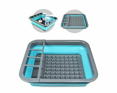 Baby Milk Bottle Drying Rack Adjustable Compact Collapsible BPA Free Grey Blue