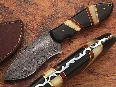Custom Hand Made Fixed Blade Unique Handle Knife With Buffalo Horn & Brass