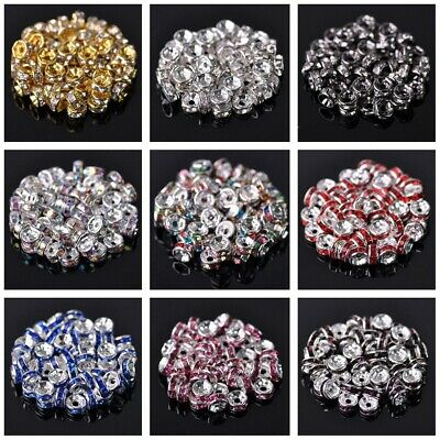 100pcs 4mm Rondelle Czech Glass Crystal Rhinestones Metal Loose Spacer Beads Lot