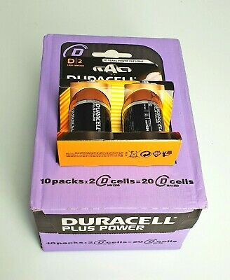 10 PZ Duracell Plus Power D 2 Batterie Alcaline MN 1300 1.5V LR20