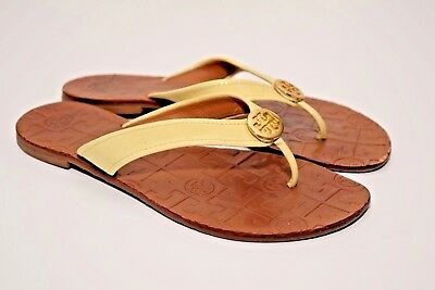 7d8e892b0ac7 TORY BURCH Womens THORA Patent Leather Thong Off-White Flip Flops Sandal sz  6M