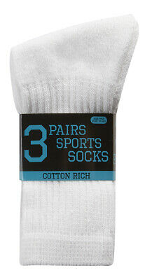 NEW Cotton Rich - Boys Pack of 3 Sports Trainer Gym Socks White Gift Running