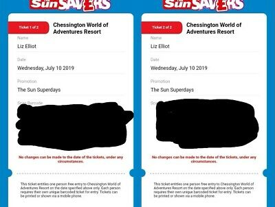 2 X Tickets For Chessington World Of Adventures Wednesday 10th July 2019