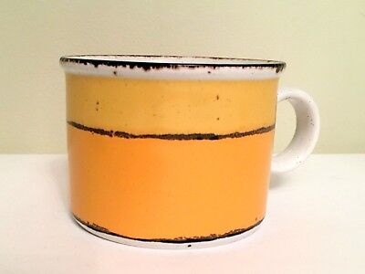 "Sun Midwinter Stonehenge England VTG Flat Coffee Cup Retired 2.5"" Yellow Orange"
