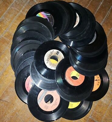 "Bulk Lot Of 50 Loose Vinyl 7"" 45Rpm Records For Arts, Crafts & Decorations"