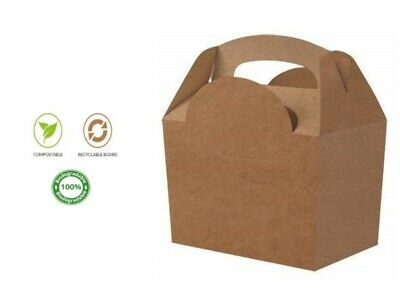 Kraft Natural Coloured Boxes ~  Childrens Recyclable Food Usable Party Meal Box