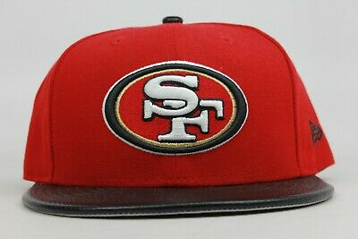 new product 01238 ade50 San Francisco 49ers Red Black White Leather NFL New Era 59Fifty Fitted Hat  Cap