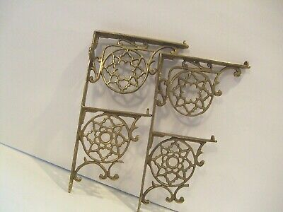 Antique / Vintage Solid Brass Pair Of Shelf Brackets Made In USA Holds 2  Shelves
