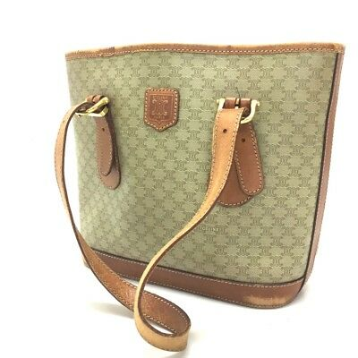 d4aa646e1b AUTH CELINE MACADAM Pattern Shoulder Bag PVC Leather Beige Vintage ...