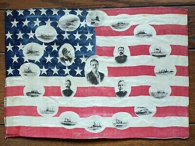 46 Star American Parade Flag Teddy Roosevelt & His 'Great White Fleet' 1907-1909