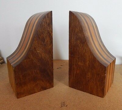 Art Deco Hardwood Segmented Banded Geometric Bookends 21x10x10cm