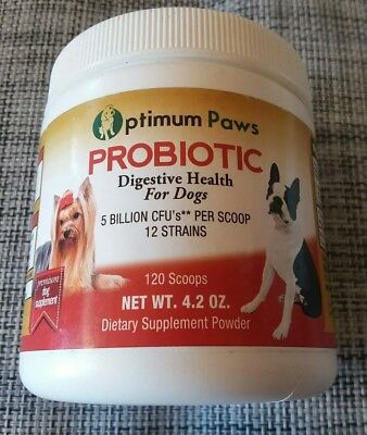 Optimum Paws Probiotic Digestive Health For Dogs. 120 Scoops 5 Million CFU's