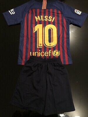 FC BARCELONA KIDS Home Kit AGE 5-6 BRAND NEW 2018 2019 with MESSI 10 print