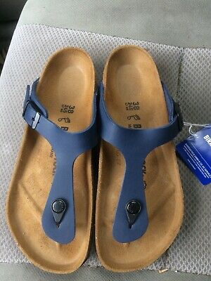 4165ef4ef06 Women s new Birkenstock Gizeh Navy Blue Birko-flor synthetic thong sandals  7R 38