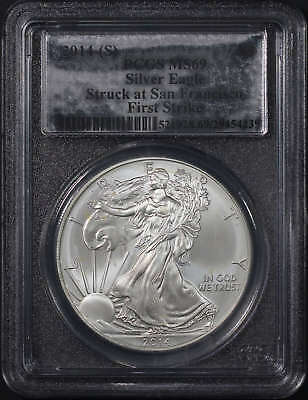 2014-(S) AmericanSilver Eagle PCGS MS-69 First Strike Silver Foil Label -176998