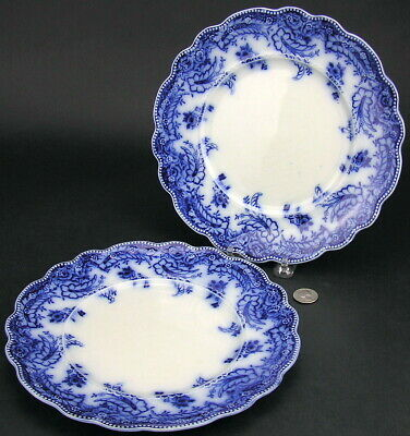 "2 Staffordshire Flow Blue Grindley ASHBURTON 9 3/4"" Dinner Plates Plate"