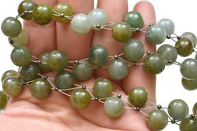 Chinese Jade Jadeite Carved Carving 54 Bead Necklace Sterling Silver Clip