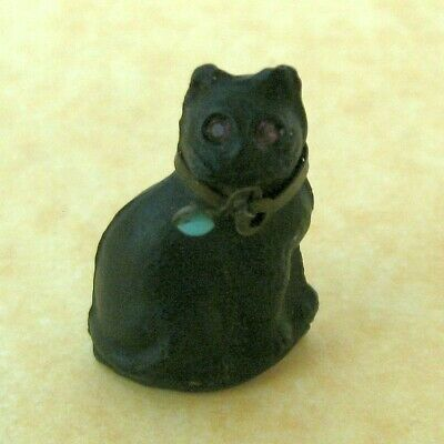 Antique Vintage Czech Molded Glass Lucky Black Cat Charm Turquoise Bead